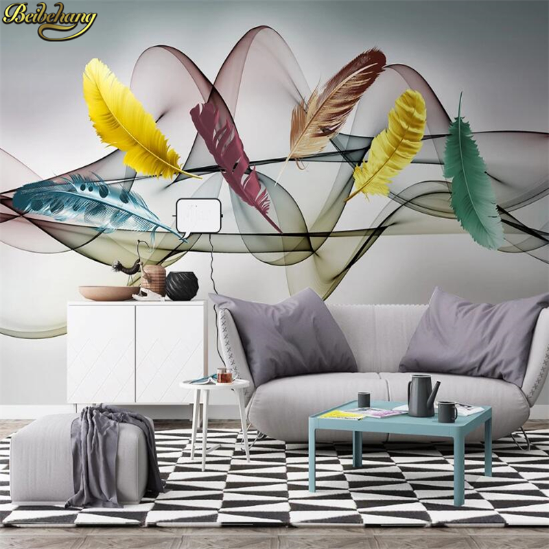 Beibehang Custom Vintage Feather Photo Wallpaper Mural 3D Living Room Sofa Bedroom Background Decor Wall Papers Home Decor