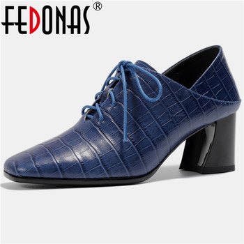 FEDONAS Concise Retro Pumps Women Spring Autumn Cross Tied Genuine Leather Casual Office Party Shoes Woman Strange High Heeled