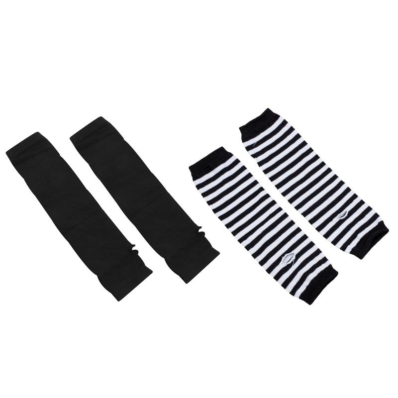ABDB-2 Set Fashion Women Lady Girls' Stretchy Soft Arm Warmer Long Sleeve Fingerless Gloves - Black White Stripe & Black