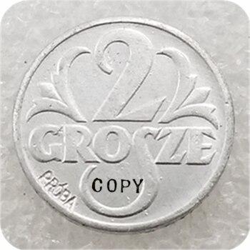 1939 Polonia (PROBA) 2 monedas de copia de zinc Grosze