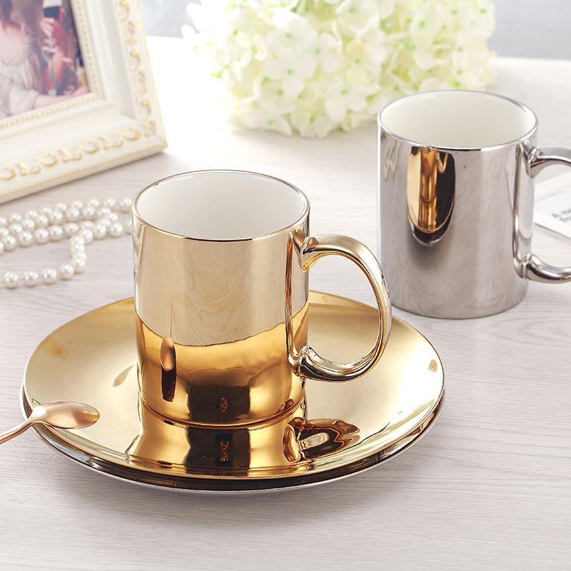 Hot Sale Europe Coffee Cup Set Gold/ Silver New bone china Tea Cup Set Electroplated cups and saucers Home Party Drinkware