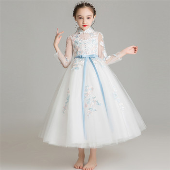 2019New Luxury Children Girls Elegant White Color Embroidery Flowers Wedding Birthday Party Princess Dress Kids Host Piano Dress