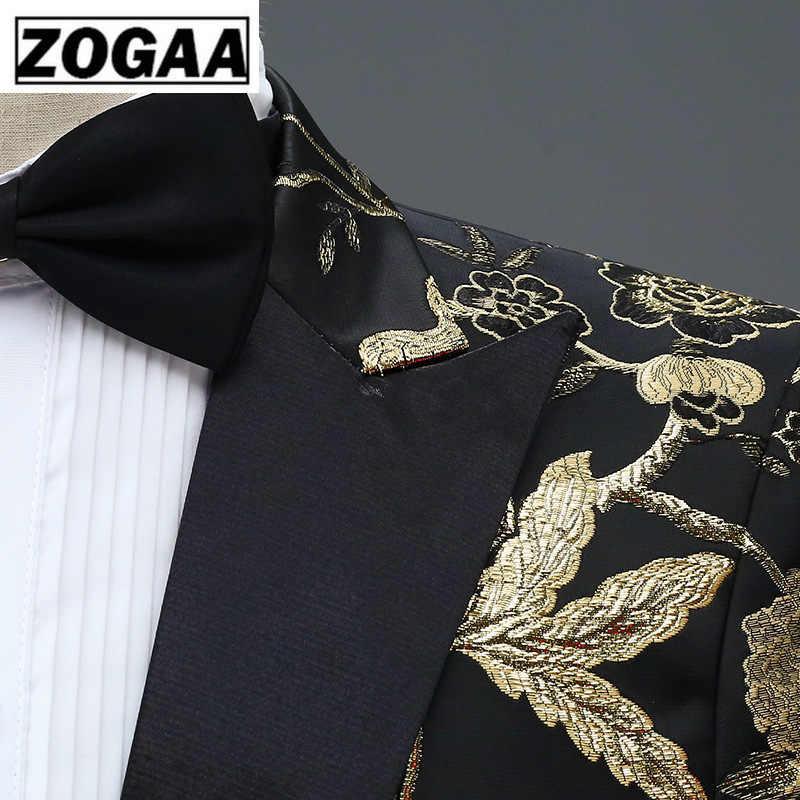 ZOGAA nowy projekt mężczyzna stylowy haft królewski niebieski zielony czerwony kwiatowy wzór hotelu etap piosenkarka ślub Groom smokingi kostium