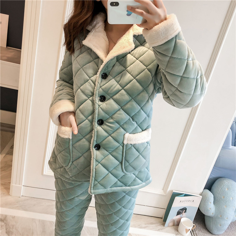 Women's Pajamas Winter New Pajamas Women's Thick Three-layer Quilted Crystal Cashmere Warm Pajamas Long Paragraph Flannel Jacket