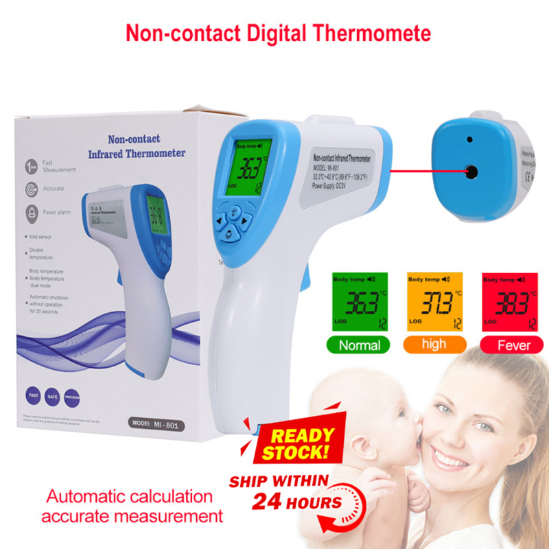 Three Color Backlit Infrared Forehead Thermometer No-contact Temperature Measurement Instrument For Children Adult Thermometo