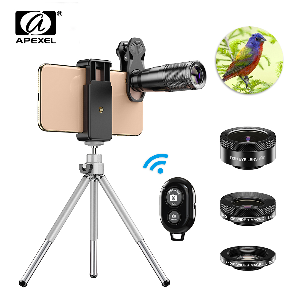 APEXEL Optic HD Phone Camera Lens Kit 4in1 Telephoto Zoom Monocular Telescope 22X Lens + Macro Wide Fisheye With Remote Tripod