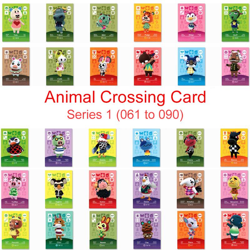 Series 1 (061 To 090) Animal Crossing Card Amiibo Card Work For NS 3DS Game Switch New Horizons Flurry Cherry Bunnie Villager
