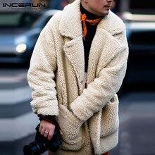 INCERUN Fashion Faux Fleece Men Coats Solid Outerwear Plush Pockets 20