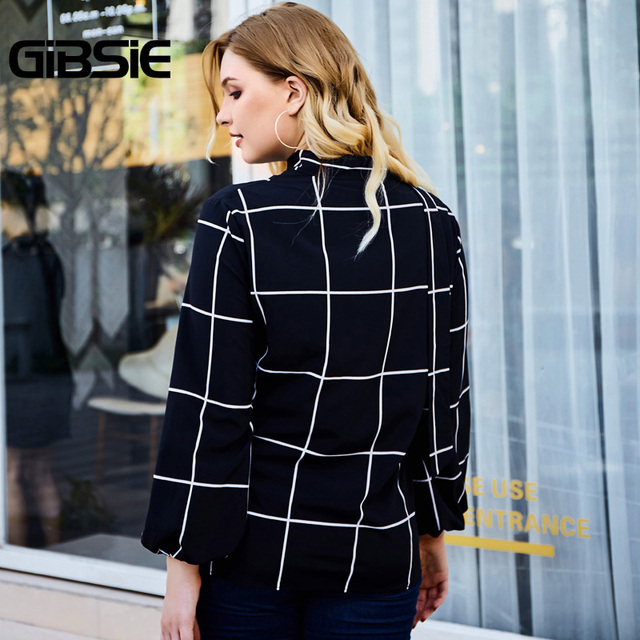 GIBSIE Elegant Choker Neck Grid Print Women Blouse Shirt Autumn Plus Size V-neck Long Sleeve Office Ladies Workwear Plaid Blouse 2