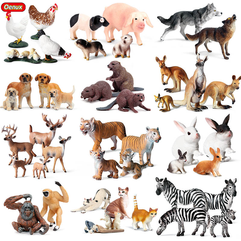 Oenux Cute Wild Farm Animals Simulation Tiger <font><b>Horse</b></font> Sheep Dog Hen Action <font><b>Figure</b></font> Figurines PVC Model Educational Decoration Toys image