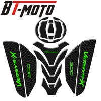Cubierta de tanque de combustible de Gas y fibra de carbono 3D para motocicleta, pegatinas protectoras para Kawasaki Ninja Z650 Z900 Versys X300