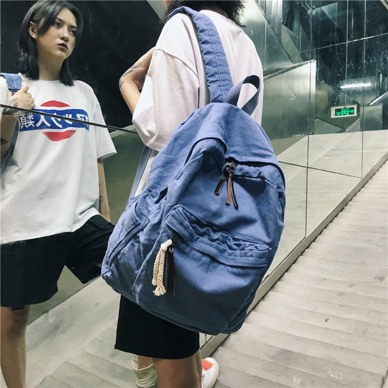 Retro Washed Denim Backpack Fashion Classic Couple Backpack College Student Outdoor Travel Bag Youth Student bookBag Mochila image