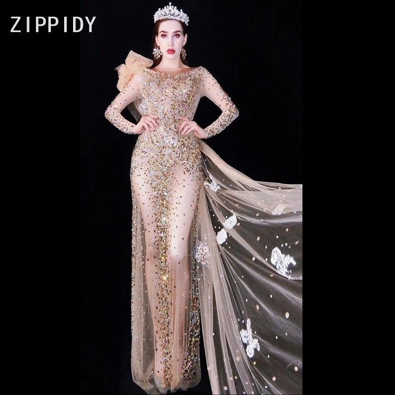 Multi-color Rhinestones Transparent Long Dress Women's Wedding Birthday Celebrate Outfit Mesh Singer Dance Bar Dresses
