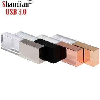 SHANDIAN new Crystal USB Flash Pen Drive Custom Logo cle USB 2.0 4gb 16GB 32GB 64GB Wedding Gift Pendrive (Over 10pcs Free logo)