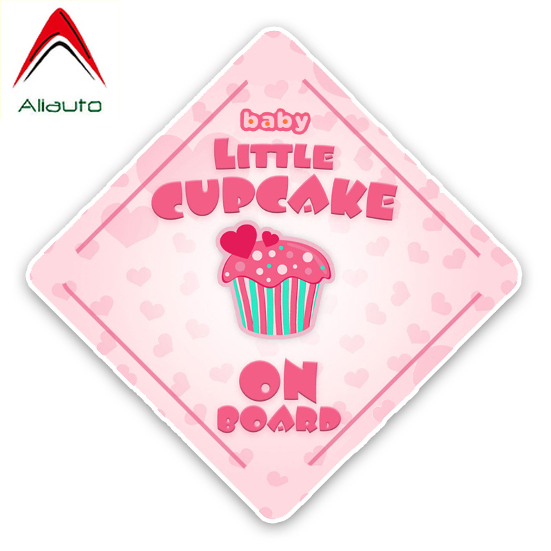 Aliauto Lovely Car Sticker Little Cupcake Baby On Board Accessories Decal Cover Scratches For Vw Beetle Tucson Megane,14cm*14cm