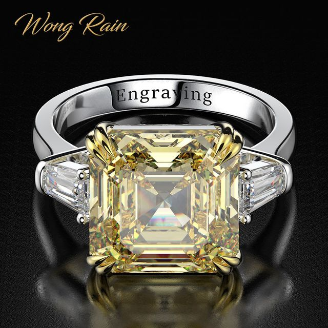 Wong Rain 100% 925 Sterling Silver Created Moissanite Citrine Diamonds Gemstone Wedding Engagement Ring Fine Jewelry Wholesale