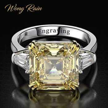 Wong Regen 100% 925 Sterling Silber Erstellt Moissanite Citrin Diamanten Edelstein Hochzeit Engagement Ring Edlen Schmuck Großhandel