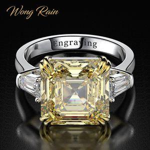 Image 1 - Wong yağmur 100% 925 ayar gümüş oluşturulan Moissanite Citrine elmas taş düğün nişan yüzüğü güzel takı toptan