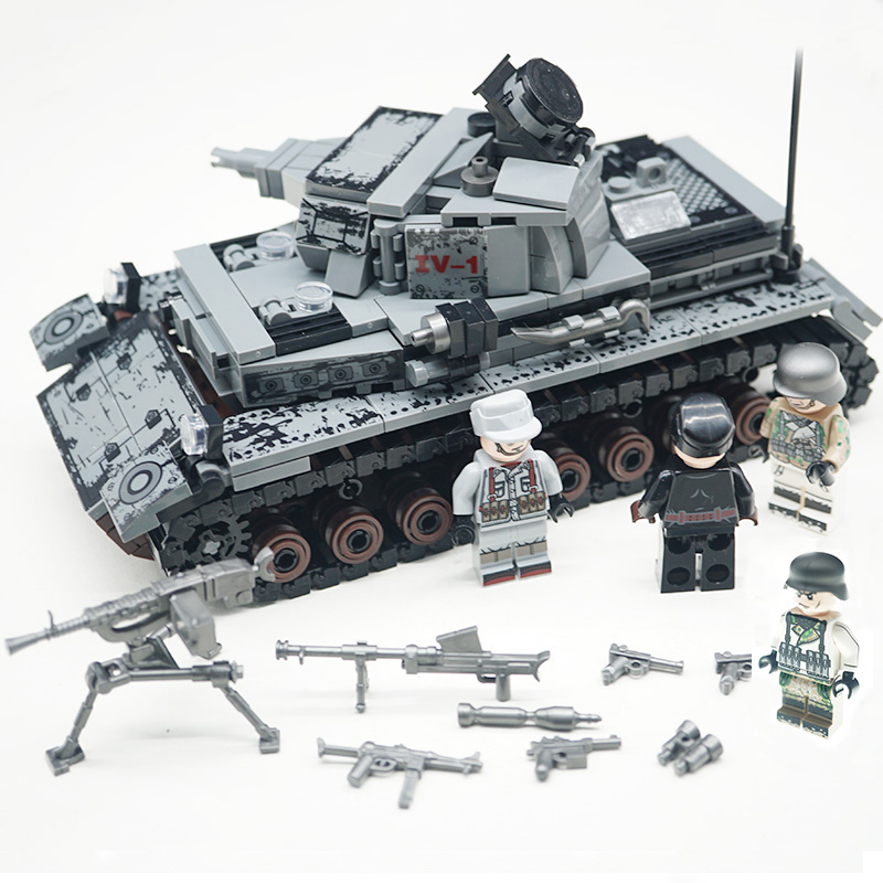 WW2 Military Series Germany IV Tank Building Blocks Military Tank Army Soldiers Figures Weapon Parts Bricks Toys X700