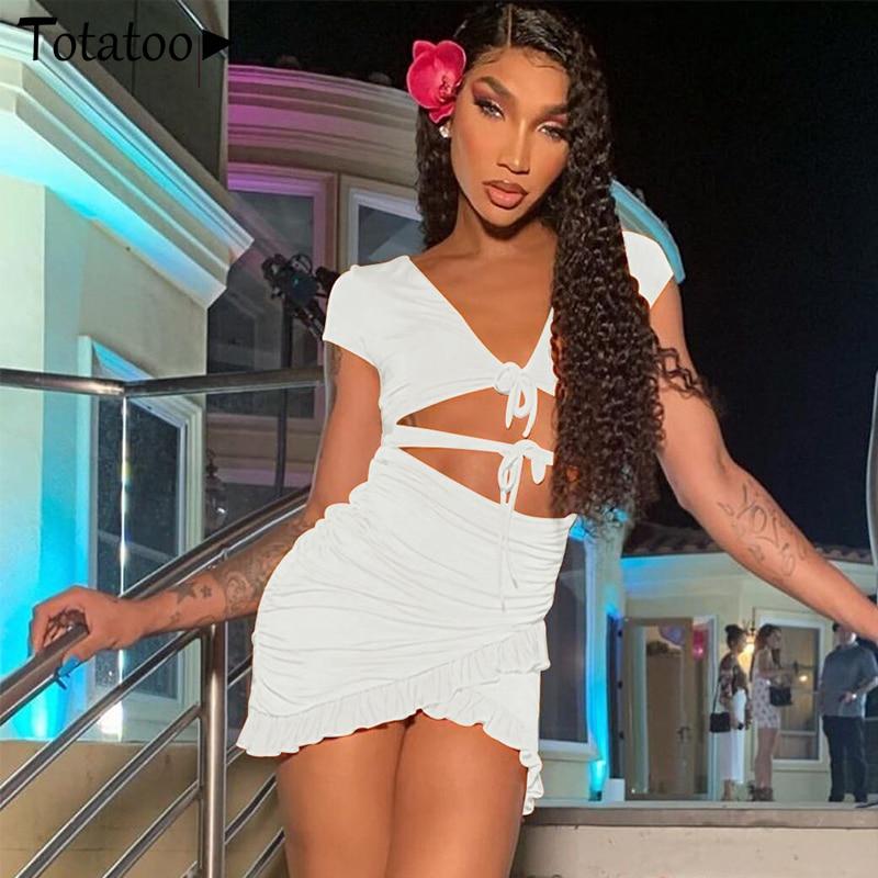 Totatoop Lace Up V Neck Ruched Bodycon Mini Dress Women 2020 Summer Hollow Out Ruffles Sundress Beachwear Vestidos