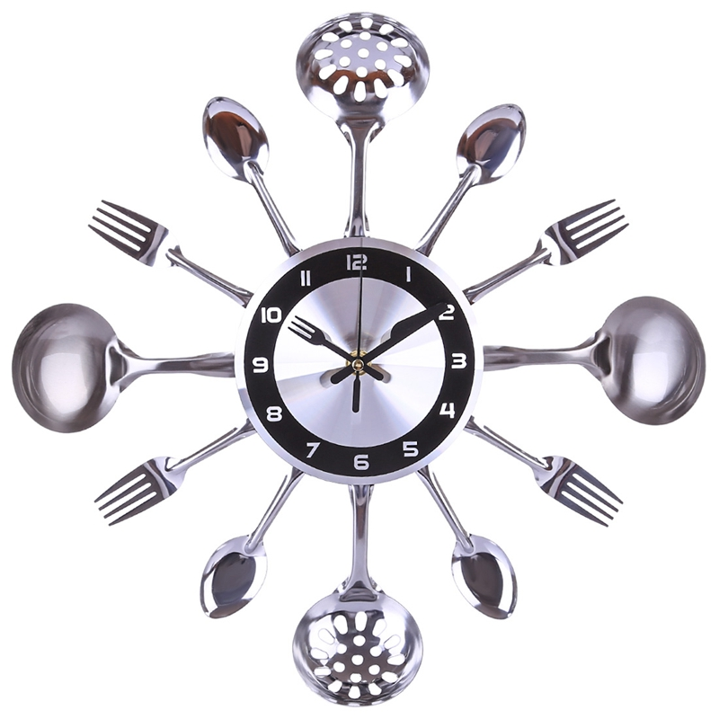 Stainless Steel And Fork Wall Clock Metal Knife And Fork Spoon Wall Clock Silent Scanning Tableware Platter Wall Clock