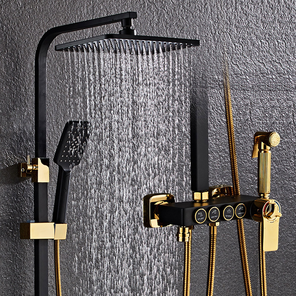 Bezpłatny zestaw prysznicowy YUJIE w całości czarny miedziany, wielofunkcyjny prysznic termostatyczny, system prysznicowy, poprawa jakości życia JY1011