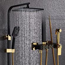 Freies YUJIE Alle-kupfer schwarz dusche set, multifunktionale thermostat dusche, dusche system, die verbesserung der qualität des lebens JY1011