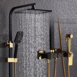 Free  Shipping   YUJIE  All-copper black shower set  multifunctional thermostatic shower shower system JY1011