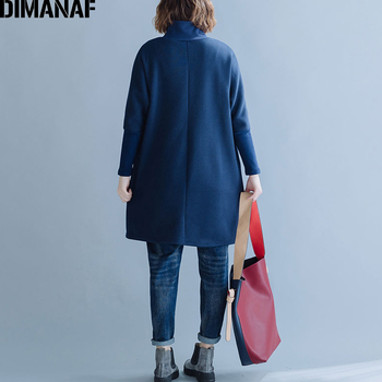 DIMANAF Plus Size Women Sweatshirts Thicken Turtleneck Female Tops Shirts Autumn Winter Long Sleeve Big
