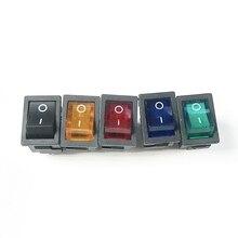 Мини перекидной клавишный выключатель ВКЛ/ВЫКЛ 4 контакта AC 250 V/6A 125 V/10A красный/зеленый/синий/желтый свет, черный без света