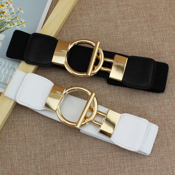 Fashion Dress Belts for Women Simple Waist Elastic Ladies Band Round Buckle  1