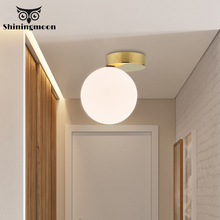 Nordic Glass Ball Ceiling Lights Modern White Wall Light Study Wall Sconce Lamp Corridor Outdoor Luminiare Wall Lights for Home modern magic bean double head wall lamp ceiling hanging wall light corridor lights edison wall sconce lamps for cafe restaurant