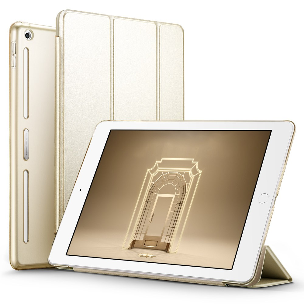 Champagne Gold ESR PU Leather Front Cover+Soft TPU Bumper Edge+PC Back Smart case for iPad 9.7 2017, 2018 Release