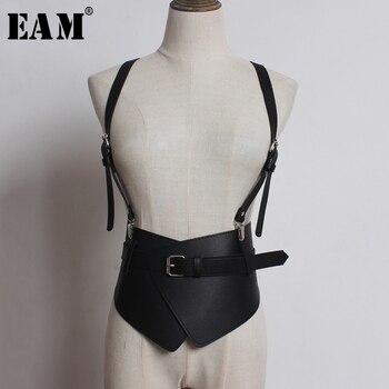 [EAM] Strap Waistband Stylish Split Joint Pu Leather Wide Belt Personality Women New Fashion Tide All-match Spring 2020 1U233