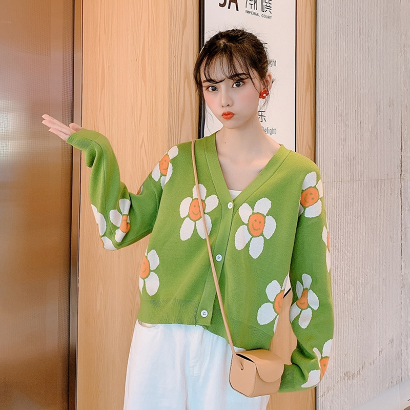 Image 3 - Womens Korean Style Floral Printing V neck Knitted Cardigans Female Casual Oversized All match Sweater One SizeCardigans   -