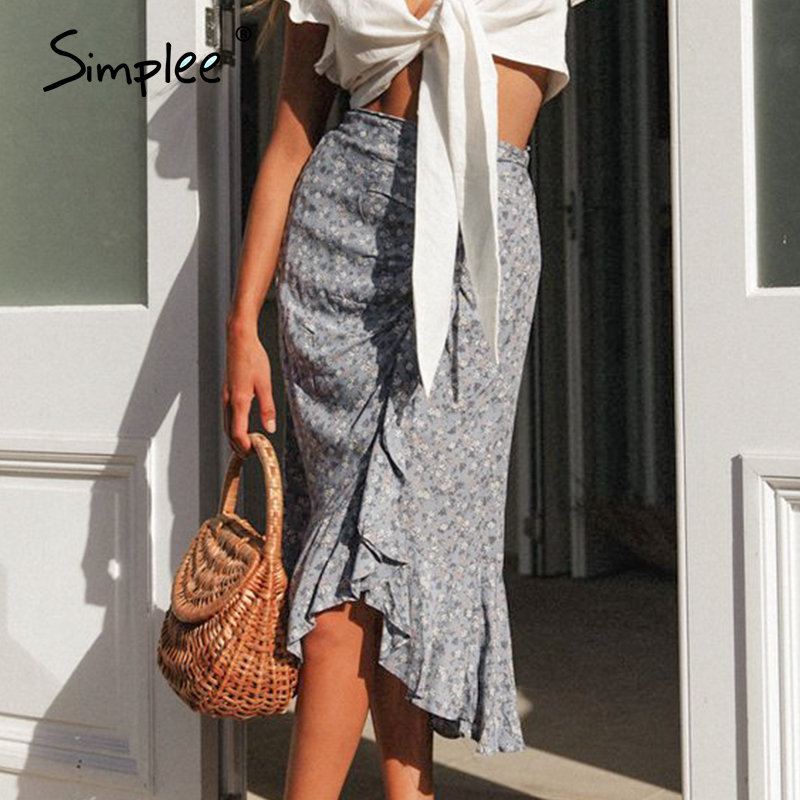 Simplee Vintage High Waist Summer Skirt Women Drawstring Floral Print Boho Female Skirt Casual Beach Wear Holiday Ladies Skirts