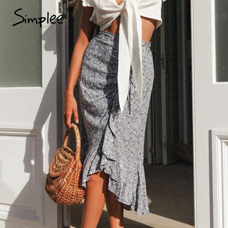Simplee Vintage High Waist Summer Skirt Women Drawstring Floral Print Boho Female Skirt Casual Beach Wear Holiday Ladies Skirts