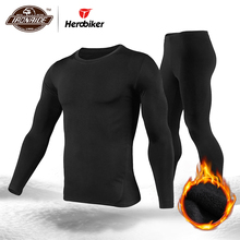 Herobiker Conjunto de ropa interior térmica para hombre, forro polar, capa Base de esquí para motocicleta, Camisetas largas cálidas y Tops, traje inferior