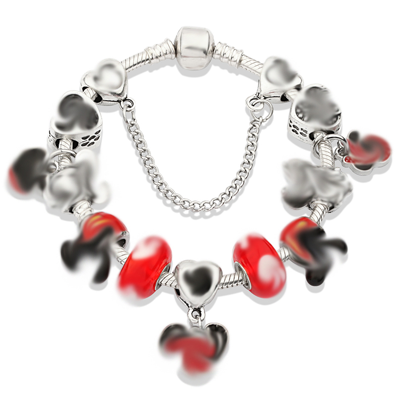 2021 Cartoon Style Beads Charm Bracelets with Snake Chain Glass Beads Bracelet & Bangle for Women Kids Jewelry Gift Dropshipping