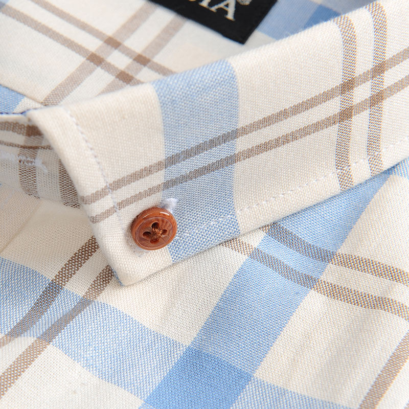 Men's 100% Cotton Long Sleeve Contrast Plaid Checkered Shirt Pocket-less Design Casual Standard-fit Button Down Gingham Shirts 3