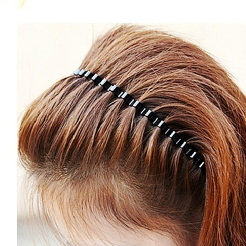 1PC Black Wavy Hair Clip Unisex Black Wavy Head Hoop Band Headband For Men Women Tools Girls Hair Styling Accessories