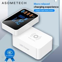 Быстрая зарядка 3,0 Type C USB зарядное устройство для iPhone адаптер QI Беспроводное зарядное устройство светодиодный дисплей быстрое зарядное устройство для xiaomi huawei samsung
