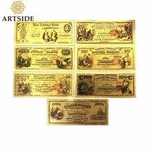 Сувенир по долларам США, 7 шт., Золотая банкнота, все типы банкнот, бумажная монета, медаль для банкнот, 24k, коллекционный подарок для банкнот