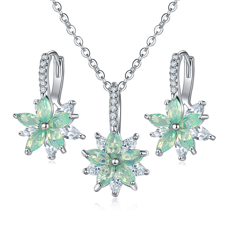 LUALA 2020 Party Flowers Bridal Jewelry Sets Necklace Earrings Silver Color Women Dangles Earrings CZ Crystal Noble Hot