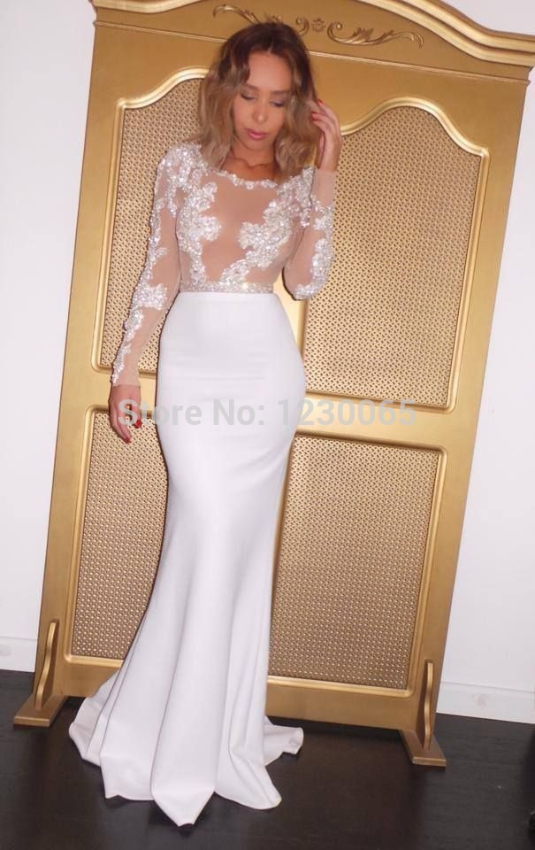 2018 Vestido De Festa Sexy Look Through Appliques Long Sleeve Mermaid Evening Floor Length Prom Mother Of The Bride Dresses