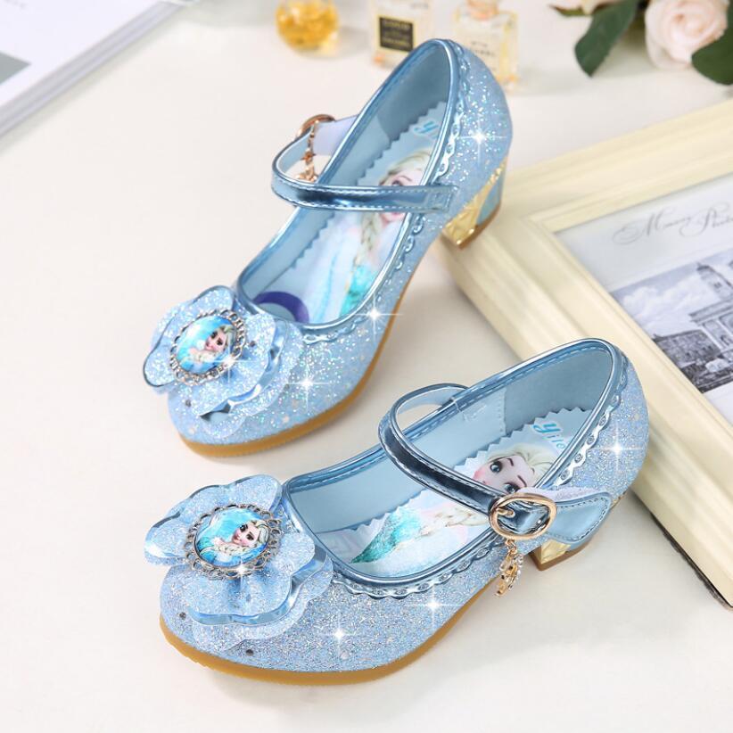 Children Leather Elsa Sandals Child High Heels Girls Princess Summer Elsa Shoes Chaussure Enfants Sandals Party Shoes Size 24-36