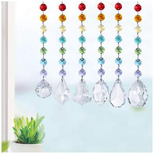 Image 3 - H&D Chakra Crystal Prisms Suncatcher with Multi Octagon Beads Window Hanging Ornaments Rainbow Maker Collection Decor,Pack of 6