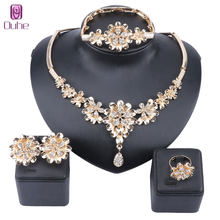 Exquisite Dubai Gold Flower Crystal Necklace Earring Ring Jewelry Set For Woman Wedding Fashion Costume Design Jewelry Set(China)