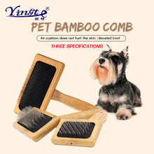 Bamboo wood pet comb cat hair brush stainless steel needle comb dog hair removal comb pet grooming comb pet massage brush pet grooming comb tool pet hair cleaning brush magic pet dog cat massage hair removal brush dog shedding comb