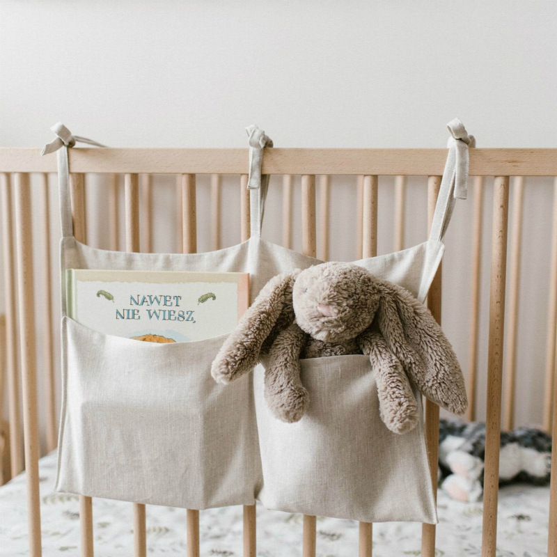 Newborn Baby Infant Multi-Function Storage Bag Crib Hanging Bag Baby Diaper Organizer Toy Diaper Pocket Bedding Set O